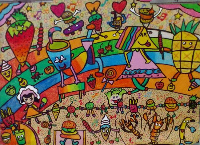 水果娃娃们 儿童彩笔画作品