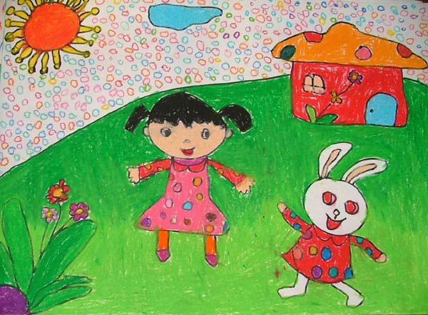 人与自然 儿童蜡笔画作品