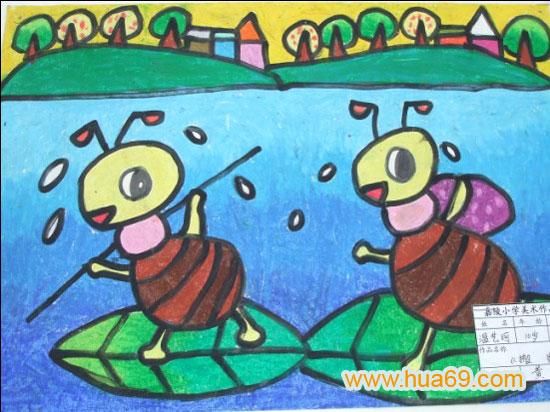 辛勤的蚂蚁 儿童蜡笔画作品 儿童画 -辛勤的蚂蚁 儿童蜡笔画作品