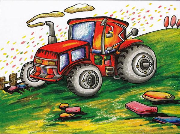 机械制造儿童画-山上的拖拉机 儿童蜡笔画作品图片