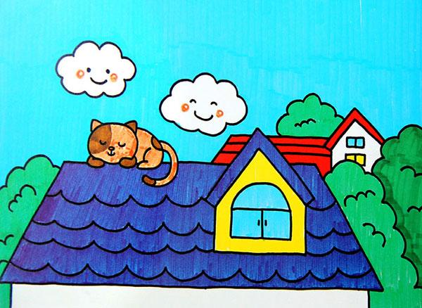 睡觉的猫 儿童彩笔画作品