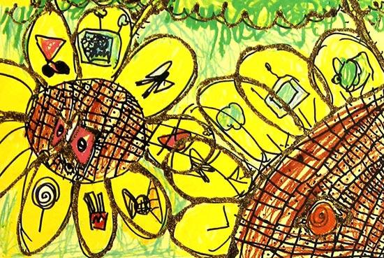 向日葵 儿童彩笔画作品5