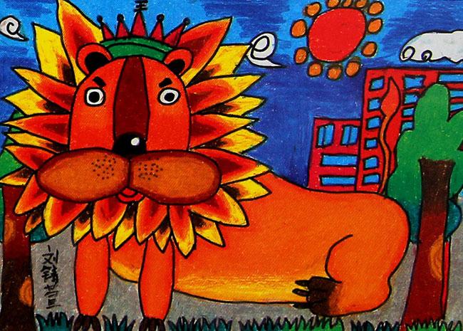 狮子 儿童蜡笔画作品8