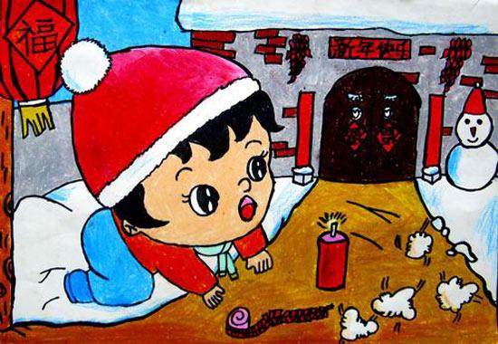 小孩过新年 儿童彩笔画作品