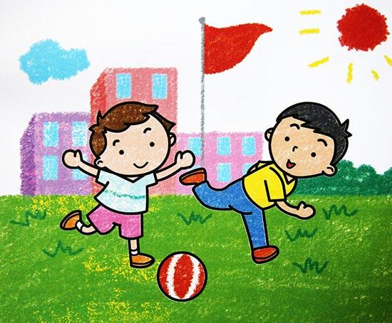 踢足球_儿童彩笔画作品_儿童画