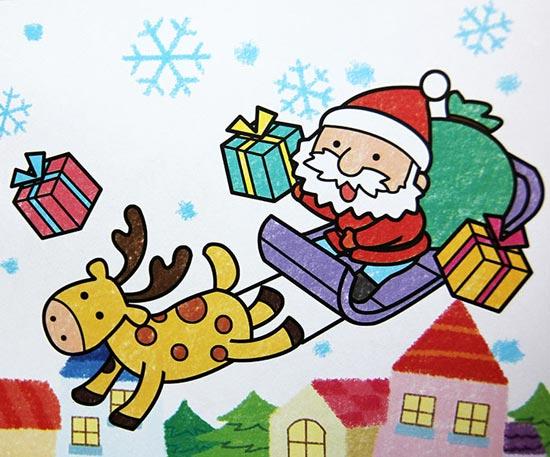 圣诞老公公 儿童彩笔画作品