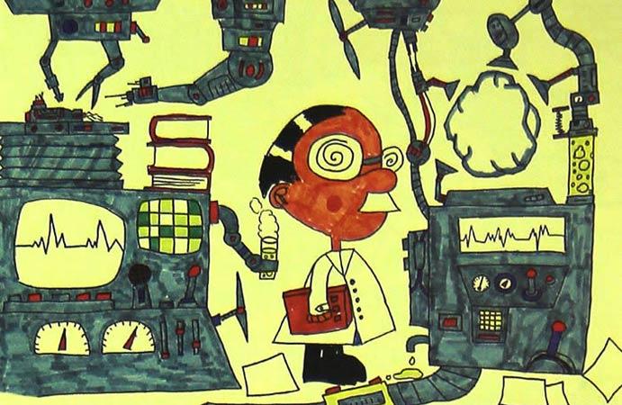 机器世界 儿童画彩笔画图片图片