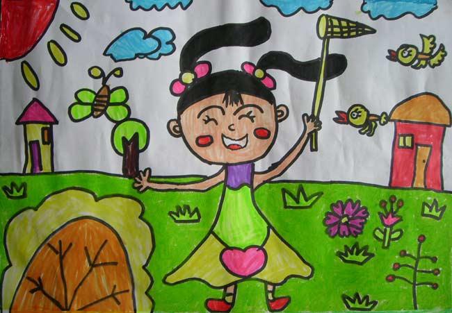 蝶的姑娘 儿童彩笔画作品