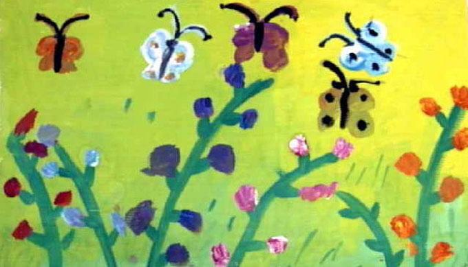 蝴蝶花朵 儿童画水粉画图片