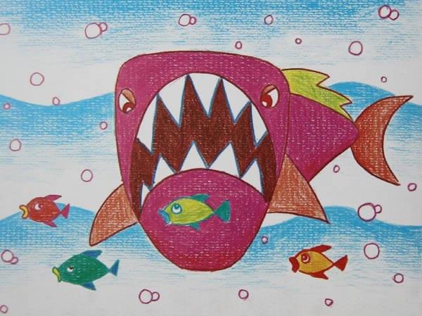 大鲨鱼_儿童彩笔画图片