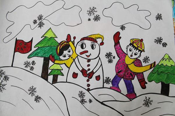 的小孩 儿童彩笔画图片