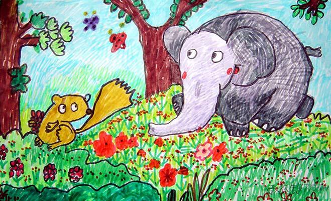 和松鼠 儿童彩笔画图片