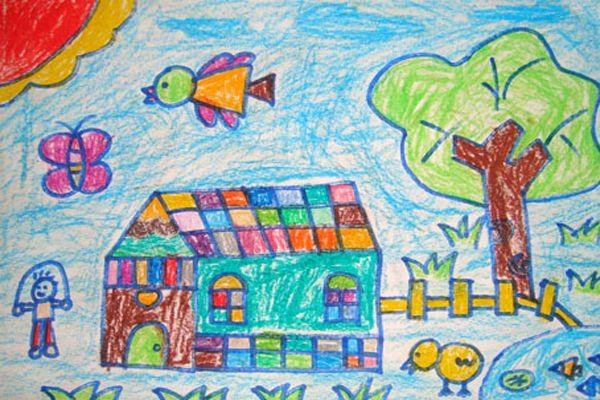 春天来了 儿童画蜡笔画图片
