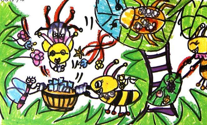 动物聚会 儿童蜡笔画图片