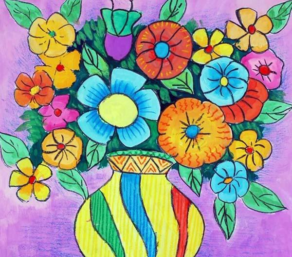 彩的花 儿童彩笔画图片