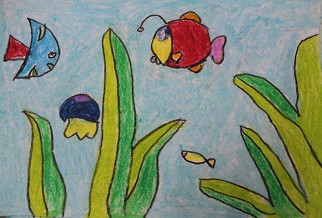 海底世界 儿童画蜡笔画