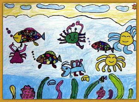儿童画 蜡笔画/海底世界_儿童画蜡笔画图片