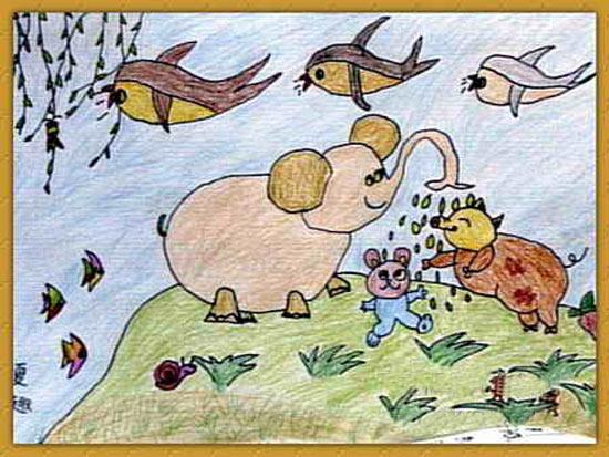 和谐环境 儿童画蜡笔画图片