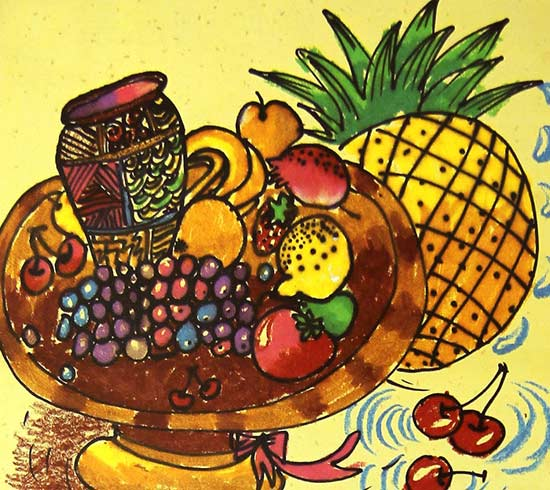 好吃的水果 儿童画彩笔画图片