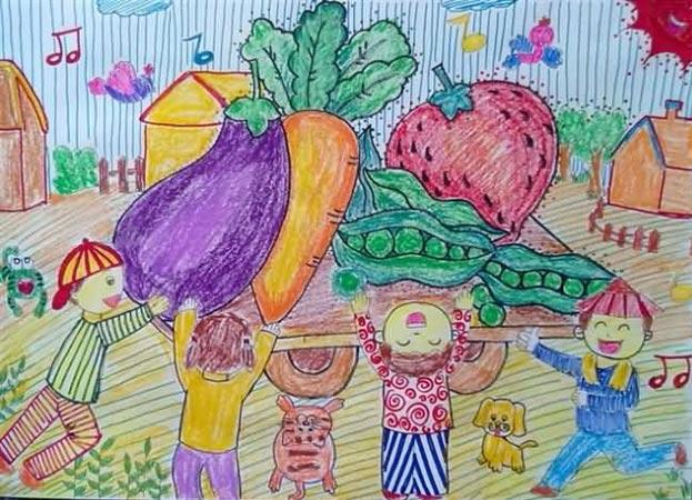 巨大的蔬菜 儿童蜡笔画图片