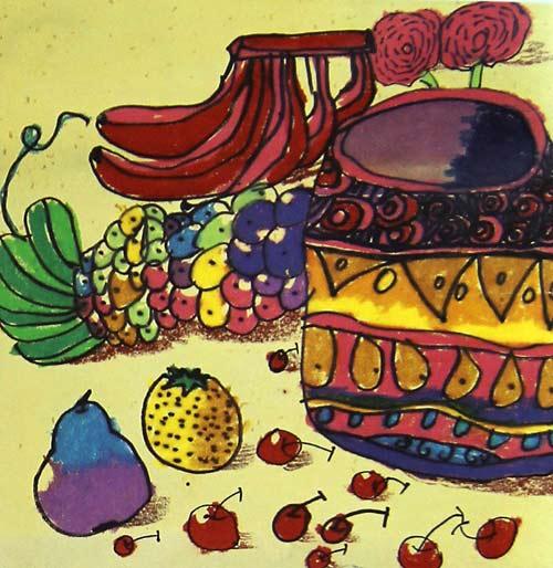 好吃的水果 儿童画彩笔画图片2