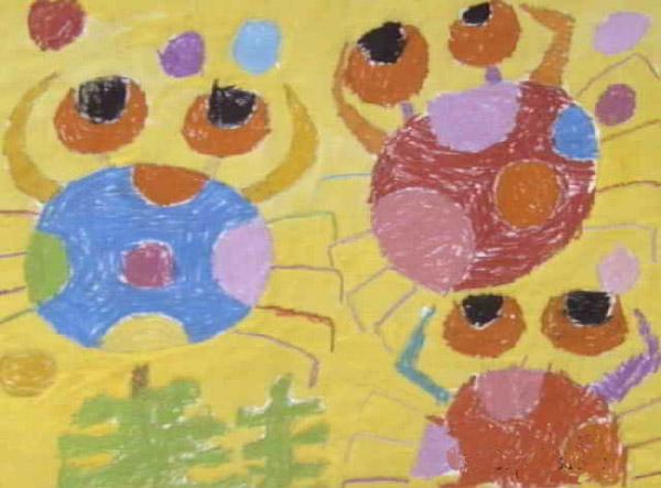可爱的小螃蟹_儿童画蜡笔画图片