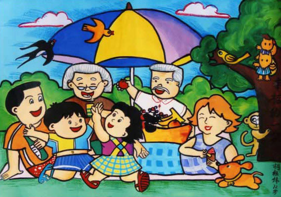 快乐一家人 儿童画蜡笔画