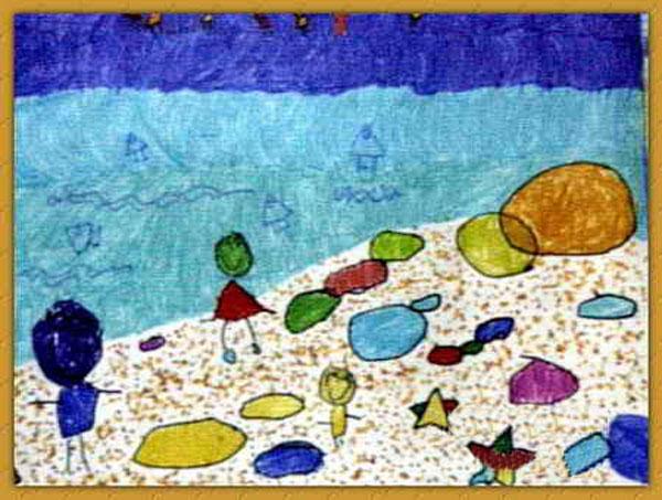 美丽的海滩 儿童画蜡笔画图片