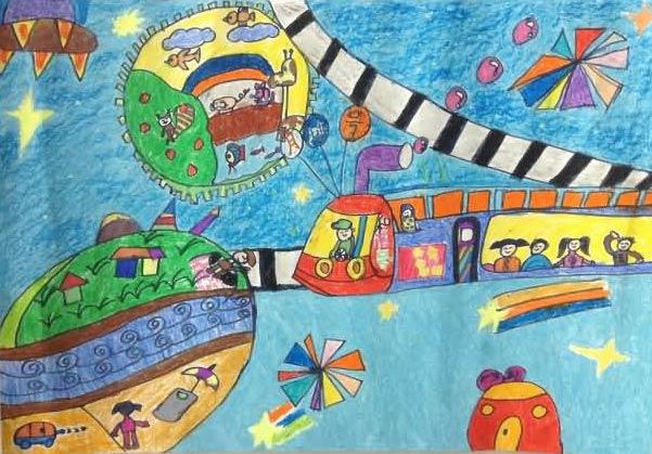 开火车 儿童彩笔画图片