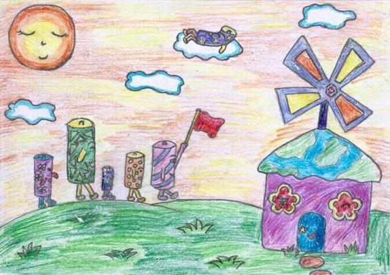 漂亮的风车 儿童蜡笔画作品 高清图片