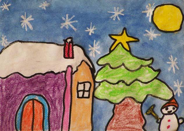 儿童画冬天的样子图片