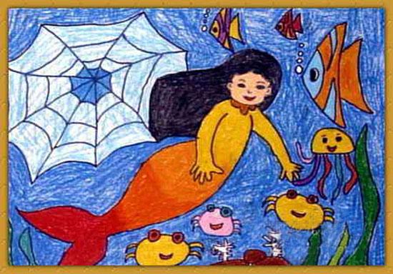 漂亮美人鱼 儿童蜡笔画图片