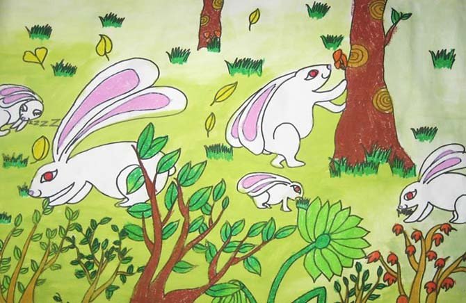 小白兔 儿童彩笔画作品