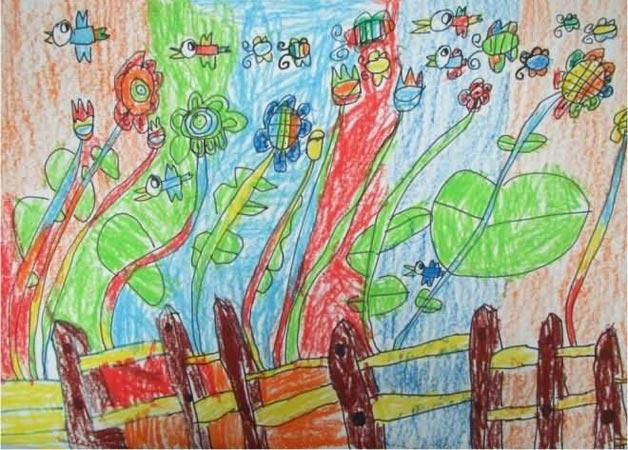 飘扬的花朵 儿童画蜡笔画图片