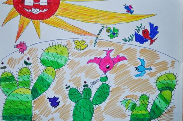 小鸟 儿童画彩笔画图片