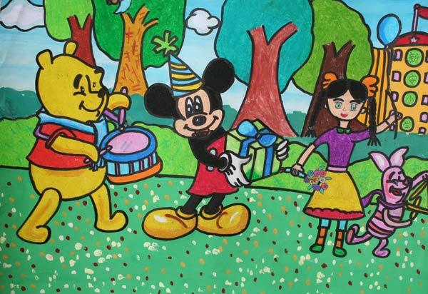 迪斯尼 儿童画彩笔画图片