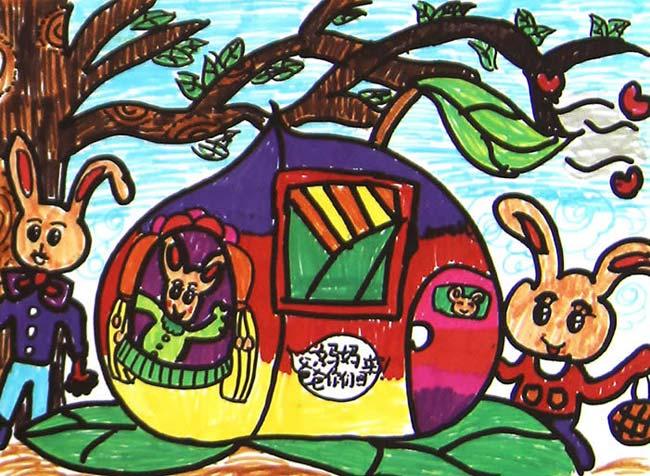 快乐的小兔子_儿童画彩笔画图片