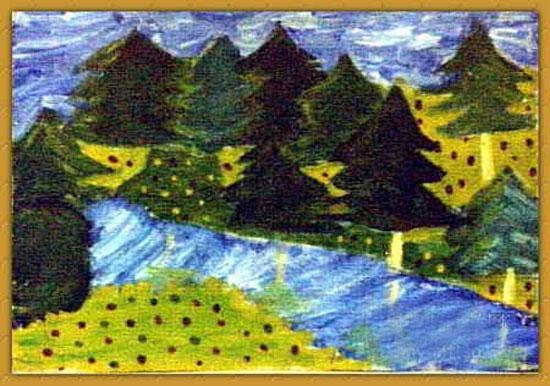 森林美景 儿童画蜡笔画图片高清图片
