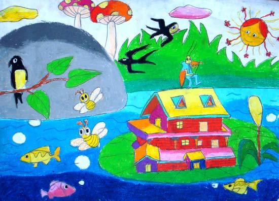 美丽的春天 儿童画彩笔画图片