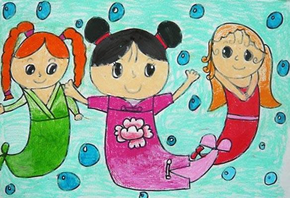 美人鱼 儿童画彩笔画图片3