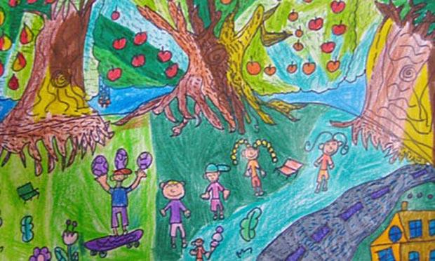 水果乐园 儿童画蜡笔画图片