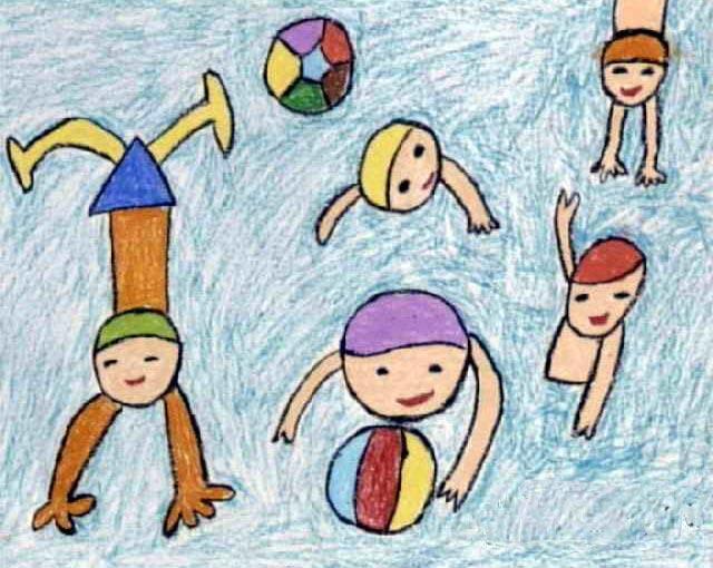 水上球赛 儿童画蜡笔画图片