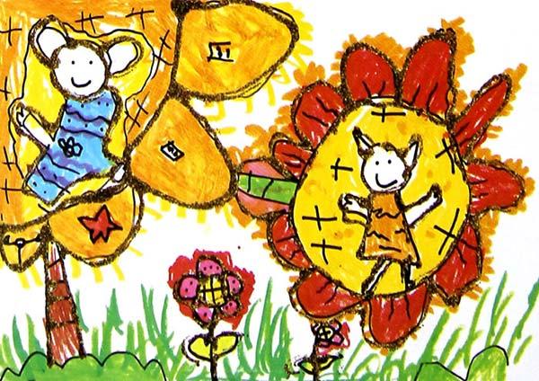 蜜蜂 和 花 儿童 画 彩笔画图片 儿童画