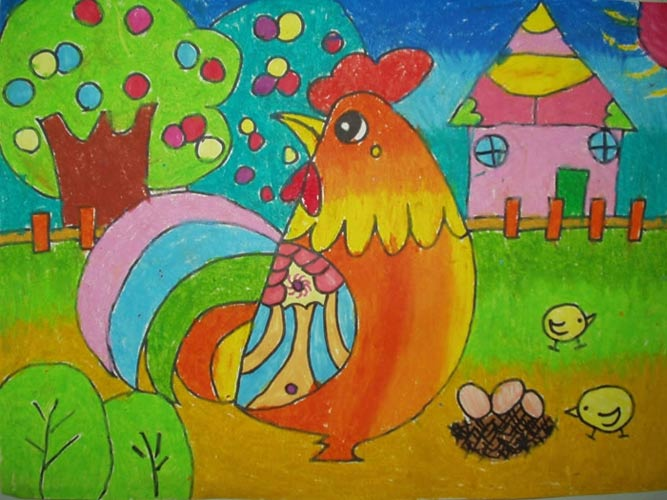 母鸡和小鸡_儿童画彩笔画图片