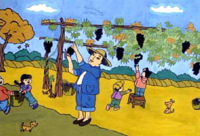 葡萄 儿童画 丰收的喜悦/农民伯伯摘葡萄_儿童彩笔画