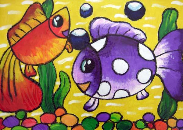 的金鱼 儿童画彩笔画图片
