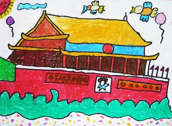 天安门 儿童画蜡笔画图片