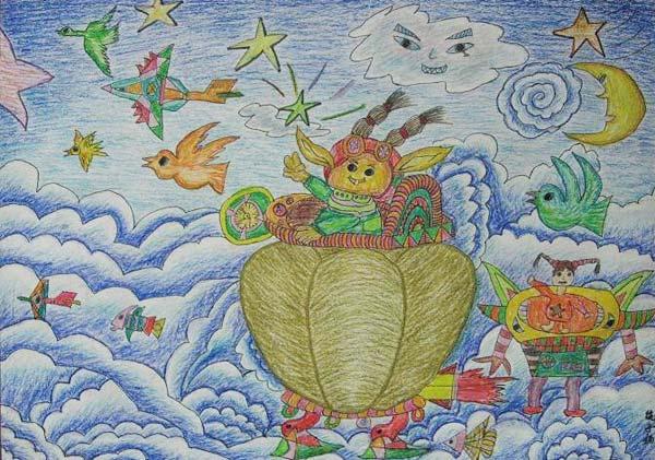 天空之上 儿童画蜡笔画图片
