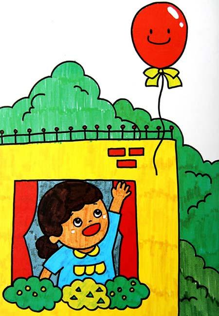 球飞了 儿童画彩笔画图片