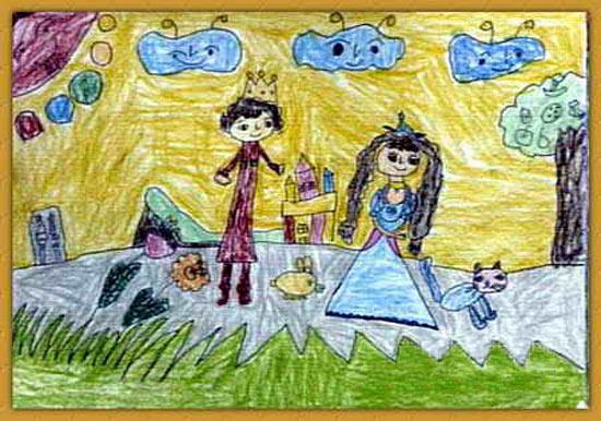 王子与公主 儿童画图片